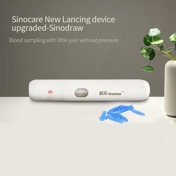 Sinocare nowe ulepszone bezbolesne urządzenie do nakłuwania z regulowanymi ustawieniami 9 głębokości i 100 sztuk lancetów do testów glukozy we krwi tanie i dobre opinie CHINA 10 5 x 2 5 cm Sinodraw Lancing device Blood sampling