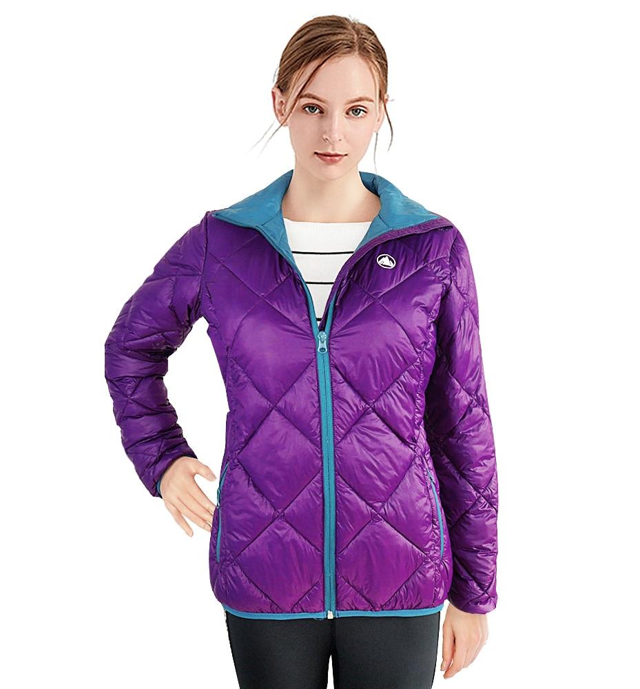 Winter Ultra Licht Frauen Parkas Stehkragen Lila Jacke Dünne Schlanke Parka Weibliche Feder Jacke Top Oberbekleidung Farbe Blockieren Einfach Zu Schmieren