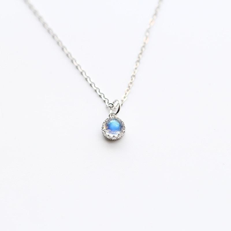 Véritable 925 pendentif en argent Sterling colliers pour femmes princesse couronne népal pierre de lune accessoires bijoux fête cadeau de noël