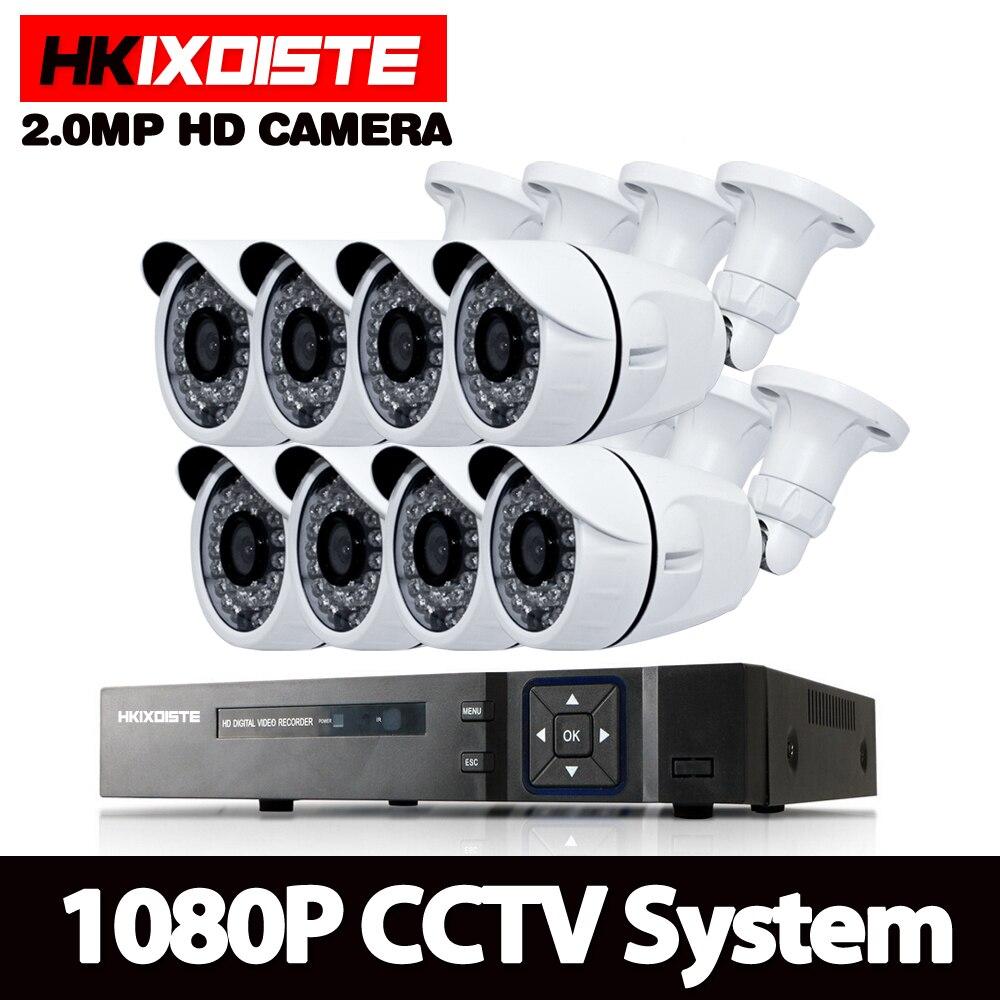 1080 p 8CH AHD DVR HD CCTV di Telecamere di Sicurezza 8 pz esterna della pallottola Giorno/Notte di IR di Sorveglianza Camaras Kit camaras de seguridad