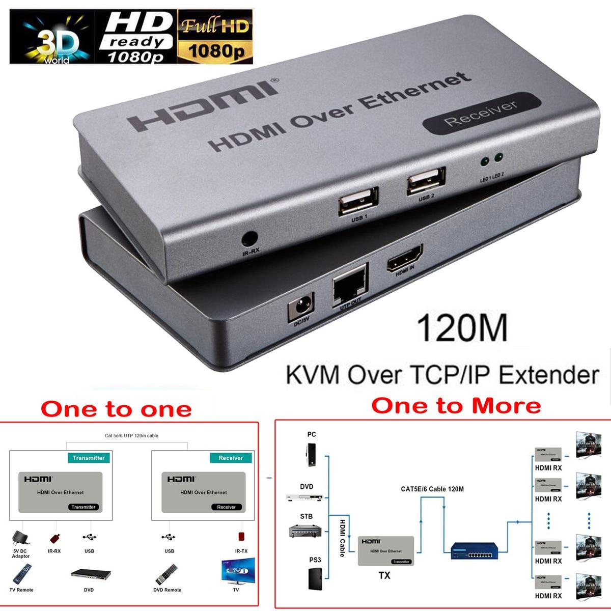 HDMI TCP/IP 120 meters Full HD 1080P Mouse KeyBoard USB KVM Extender Via cat5e/6 Ethernet RJ45 Cable HDCP + IR Remote Extender