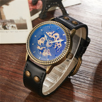 Vintage Luxury Automatic Mechanical Watch Men Brand Retro Bronze Stainless Steel Skeleton Leather Strap Watch Relogio