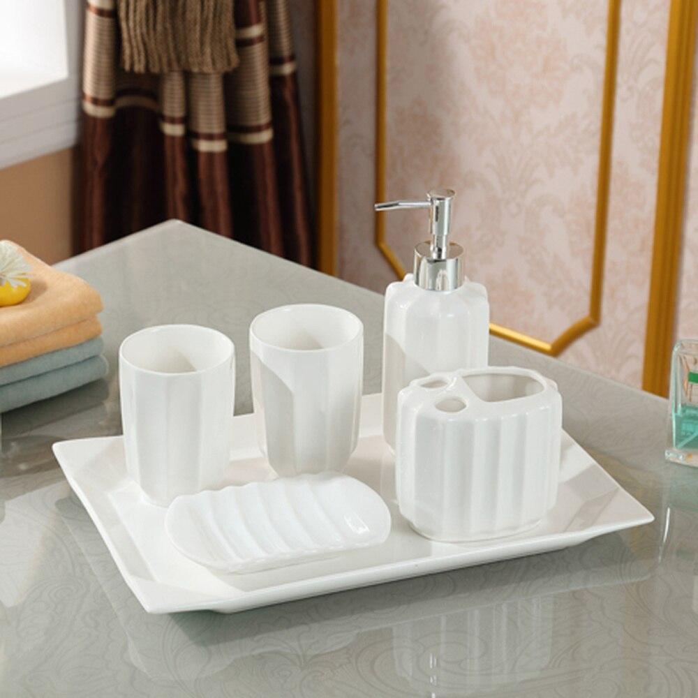 Modern minimalist ceramic bathroom set of six creative bathroom brush cup tray LO86301 simple bathroom ceramic wash four piece suit cosmetics supply brush cup set gift lo861050