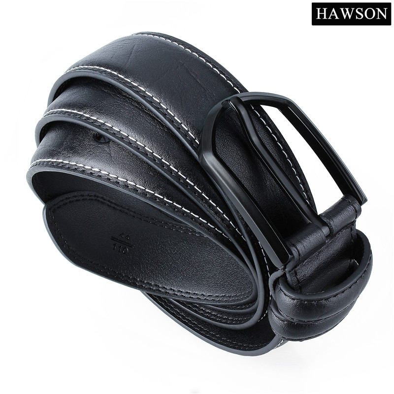 HAWSON Black Leather Belt Men with Gun Plated Pin Buckle High Quality Textured Leather Belts For Mens Jeans