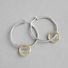 e60b4000ac63 100% de Plata de Ley 925 de doble color círculos pendientes para mujeres pendientes  de