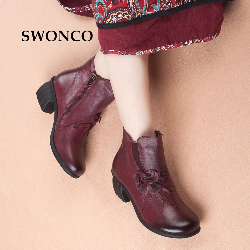 SWONCO Womens Ankle Boots 2018 Spring Autumn High Heels Ladies Boot Women Boots Genuine Leather Woman Shoes Handmade Retro BootSWONCO Womens Ankle Boots 2018 Spring Autumn High Heels Ladies Boot Women Boots Genuine Leather Woman Shoes Handmade Retro Boot