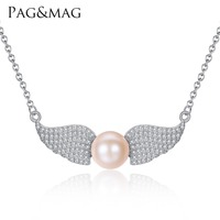 PAG MAG Angel Wings Shape Sterling Silver Pendant Necklace With 9 9 5mm Flat Bead Natural