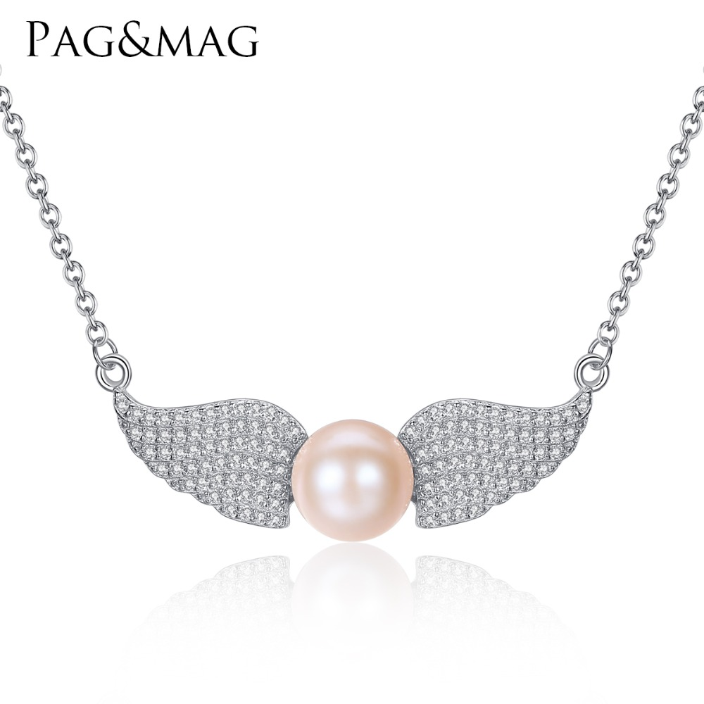 PAG & MAG Angel Wings Shape Sterling Silver Pendant Necklace med - Fina smycken