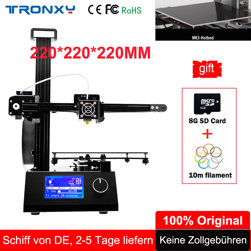 Tronxy 3D Printer I3 Aluminium Metal Extrusion 3D Printer kit DIY Heated Bed Printer 3d Printing 10m Filament 8G SD Card As Gift tronxy 3d printer all metal upgrade frame 3 3 lcd screen dual z axis extruder 3d printer diy kit 10m filament 8g sd card gift