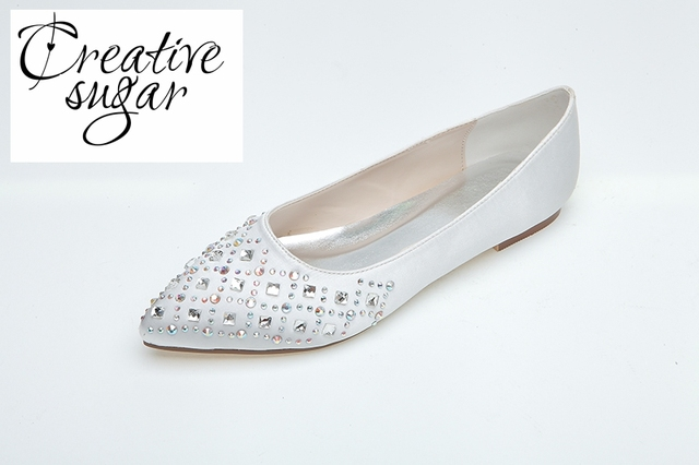 Creativesugar flat pointed toe rhinestone sparkling diamond women s beach wedding  shoes cocktail any occasion flats pink white d674e0d2a73b