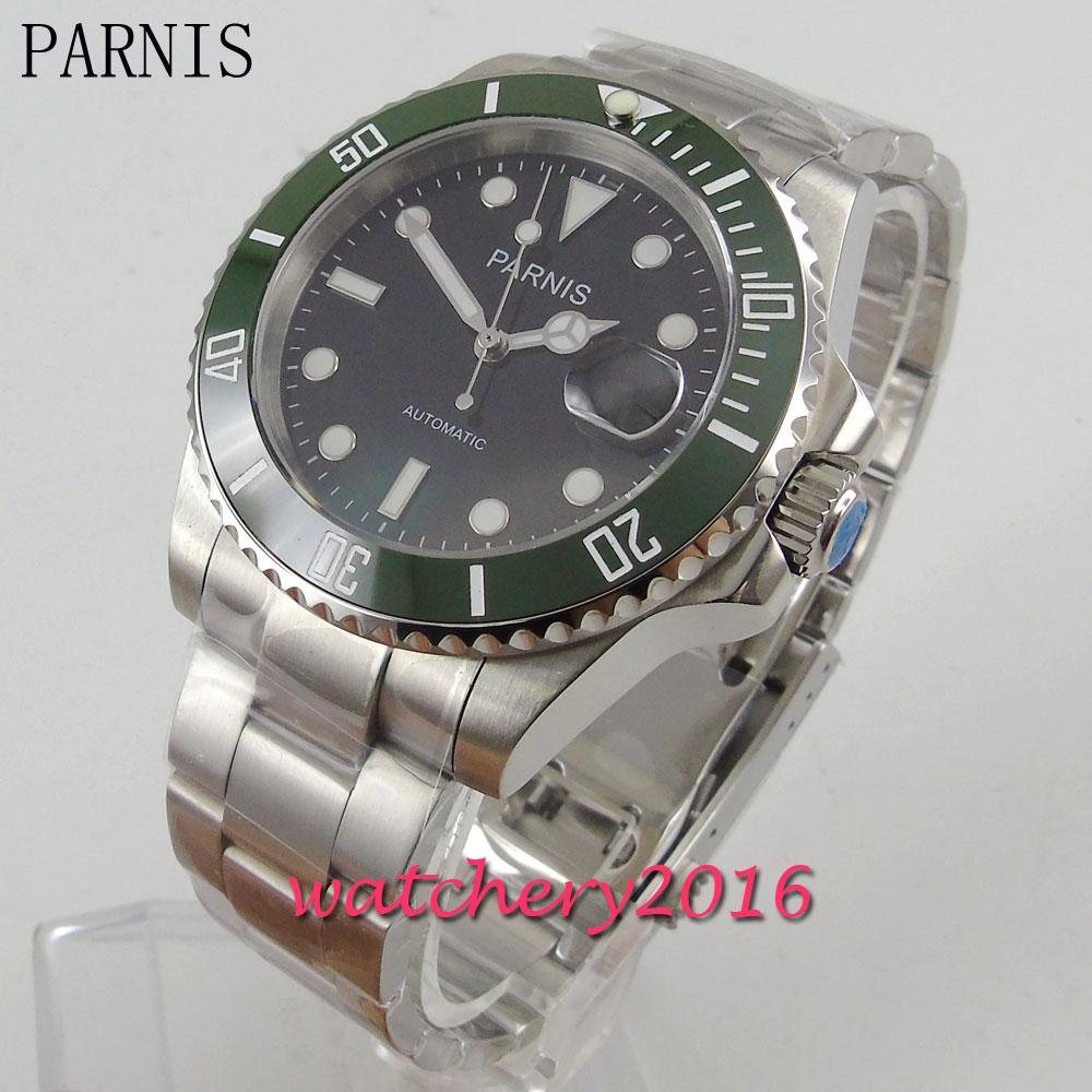 e572d87403e Nova 40mm Parnis mostrador preto verde ceramic bezel marcas luminosas data  vidro de safira ajustar Relógio