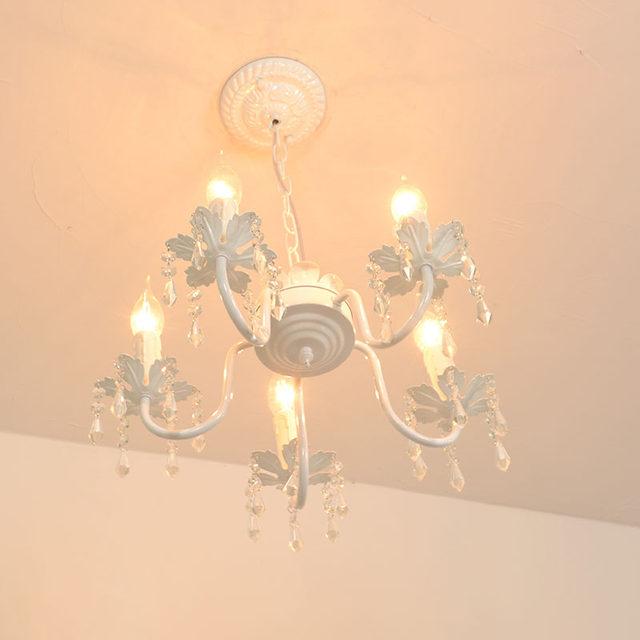 Weiß Eisen Kristall Kronleuchter Moderne Leuchte Für Mädchen Zimmer  Schlafzimmer Esszimmer Zimmer Küche Insel Foyer LED