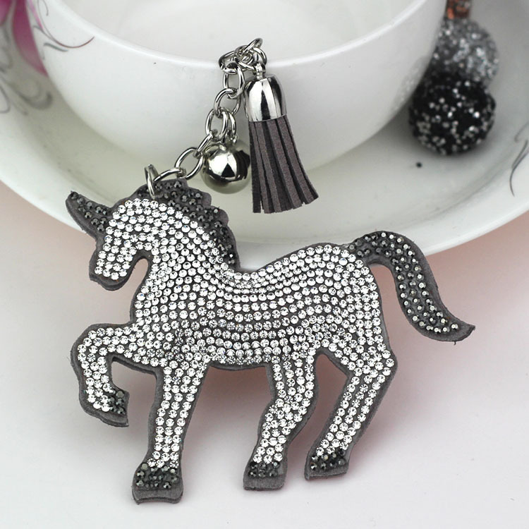 Keychain with Unicorn Charm Horse with crystals