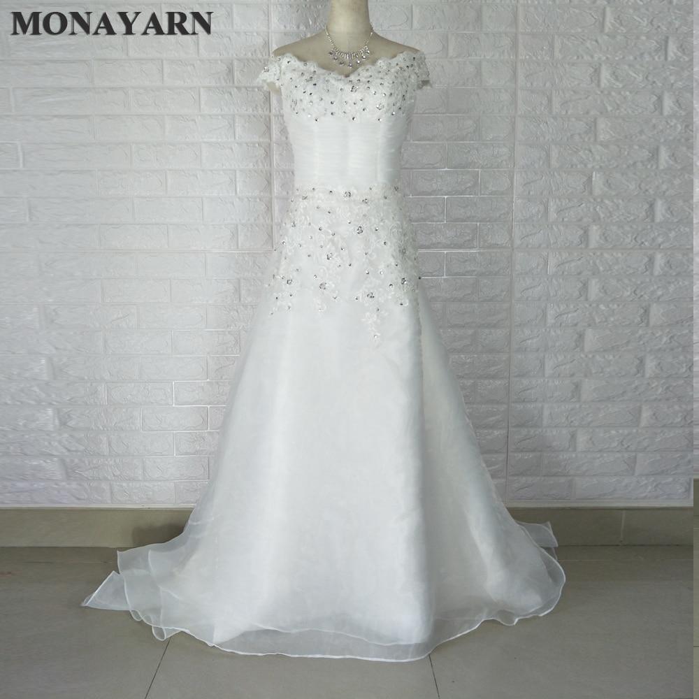2017 nuevo vestido de novia vestido de novia de encaje blanco / marfil Tamaño personalizado: 6/8/10/12/14/16/18/20