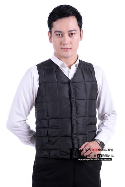 Man autumn plus size Casual V-neck Single Breasted solid waistcoat men winter zip pocket warm down vest male outerwear