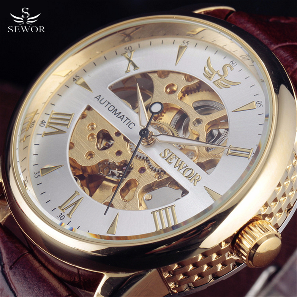 087379e22eb 2016 Top Luxo Relógio SEWOR Homens Die-Fundição De Ouro Caso Esqueleto  Pulseira de Couro Relógio de Vestido dos homens Mecânico Automático relógios  de pulso