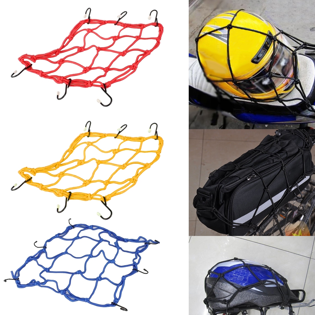 Helmet Nets Mountains Bike Rear Frame Cover Rubber Elastic Luggage Net Brandnew