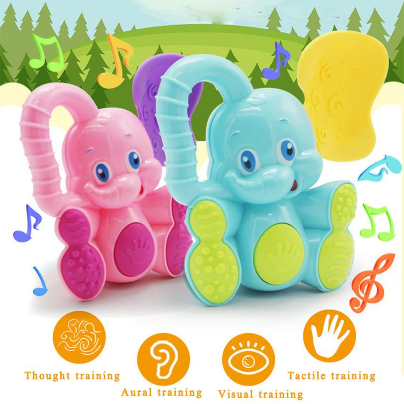 2018 New Wireless Instrument Toys for Girls boy Safety Baby Toddler Teether Hand Shake Bell Ring Funny Educational Elephant Toy
