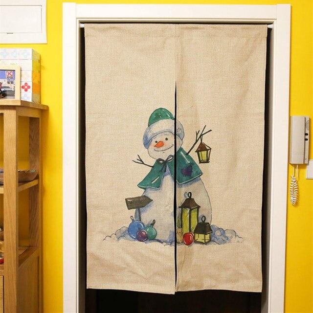 Cartoon Baumwolle Leinen Tür Vorhang Weihnachten Urlaub Wohnkultur ...