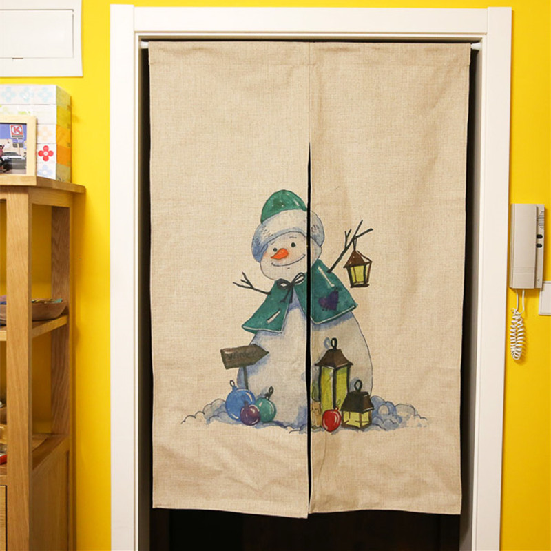 Cartoon Trees Curtains For Bedroom Cotton Linen Towel: Cartoon Cotton Linen Door Curtain Christmas Holiday Home