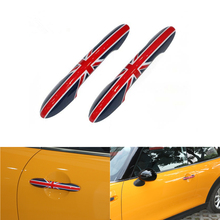 цена на 2Pcs Union Jack MINI F55 F56 Stickers Car Door Handle Cover Trim Stickers Decoration Decals for Mini Cooper F56 F55 Accessories