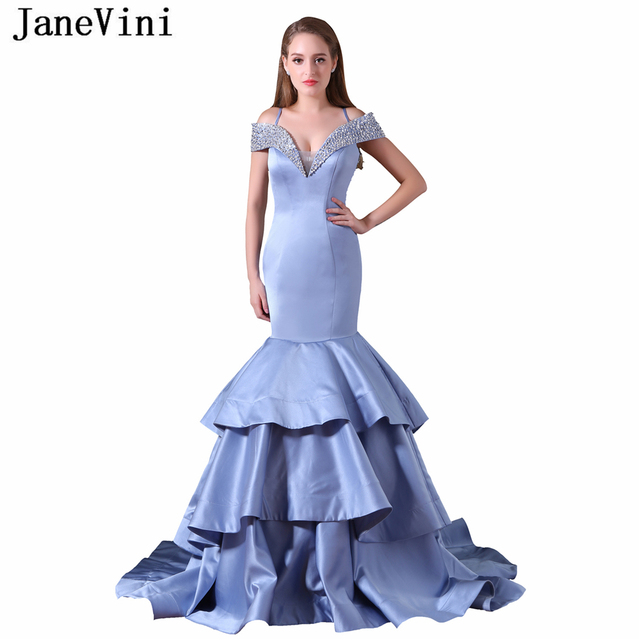 JaneVini Sexy Long Bridesmaid Dresses Mermaid Tiered Satin V Neck Beaded Sequined Sheer Back Sweep Train Women Prom Party Gowns