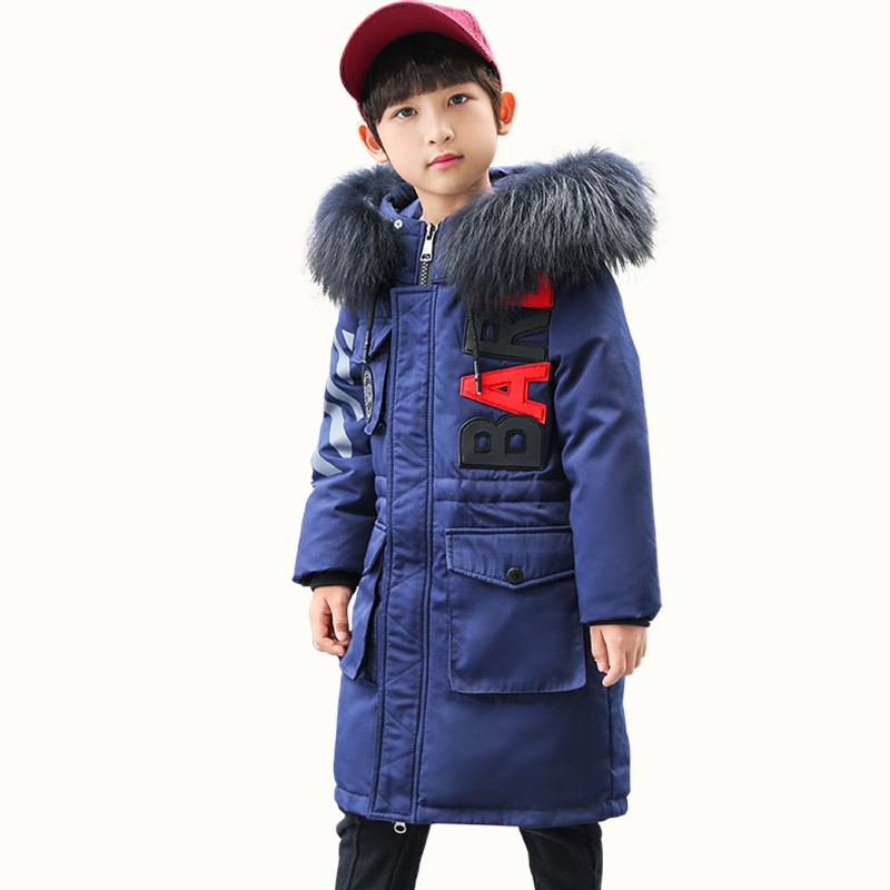 все цены на Children's Boys Winter New 2018 Fashion Fur Hooded Thick Cotton Down Jacket Long Children's Parker Jacket Size 6 8 10 12 14 year онлайн