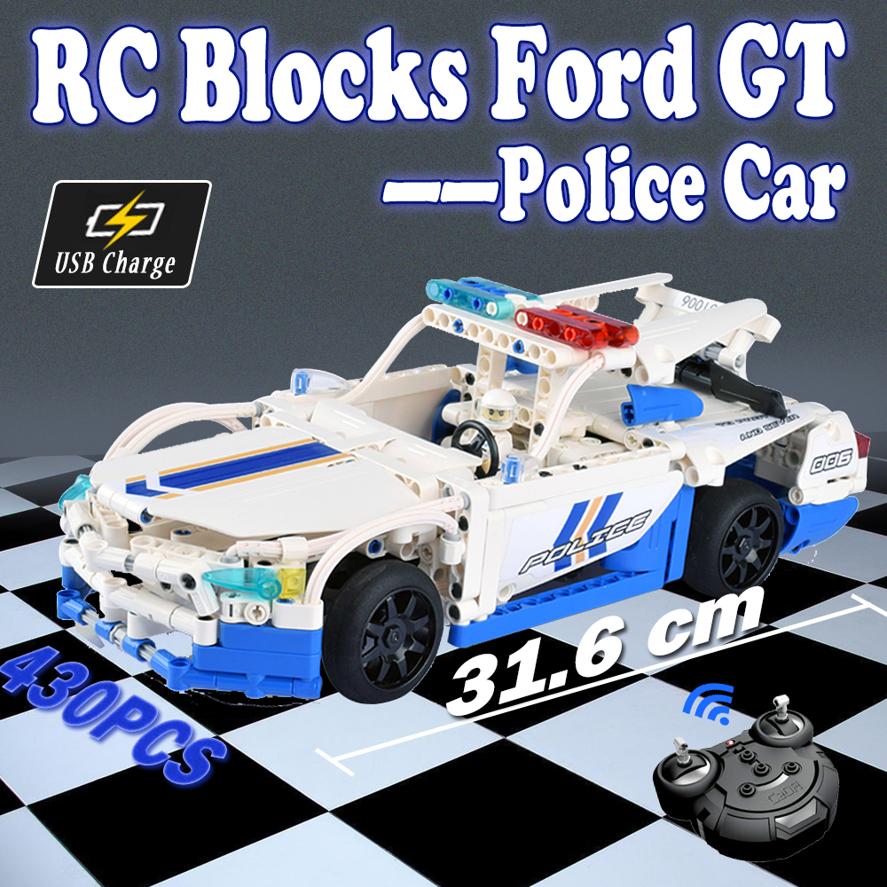 RC ford GT car unassembled Model Building Blocks toy Police Remote Control cars Toys For Children Legoing Compatible boys diy