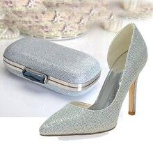 Mode spitz D'orsay silber glitter schuhe mit kupplung für party hochzeit prom jede veranstaltung pumpen mit handtasche große größe