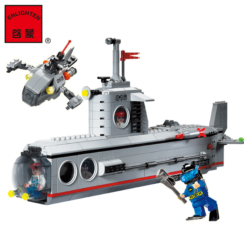 Model building kit compatible with lego military submarine u-boat 3D blocks Educational model building toys hobbies for children 8 in 1 military ship building blocks toys for boys