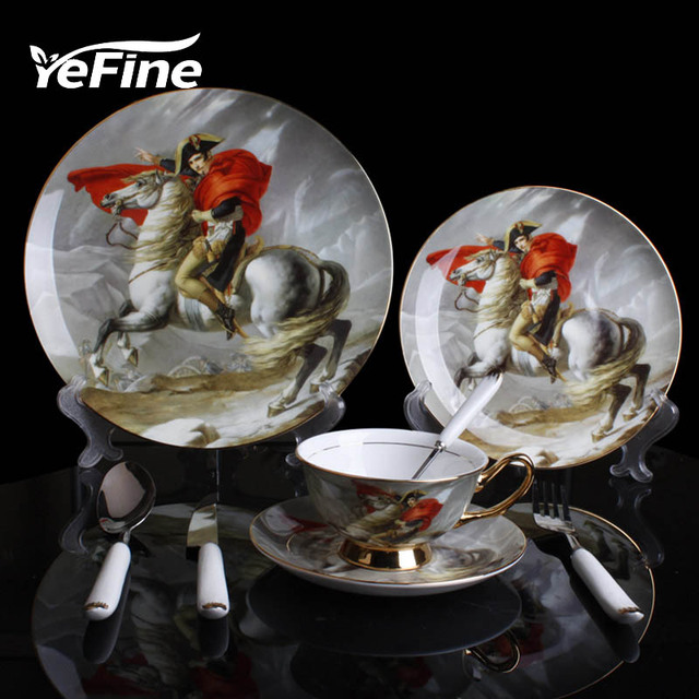 YeFine Bone China Dinnerware Sets Royal Napoleon Ridding Horse Pattern Dinner Plate Oil Painting Dishes Dishware : horse dinner plates - pezcame.com