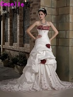 Vintage White And Red Wedding Dresses With Color High End Colorful Strapless Vintage Embroidery Bridal Gowns