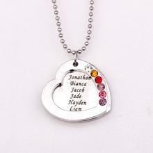 Collar Colgante de Corazón con piedra de la Fortuna familiar YP2545 Birthstones Collares Largos de La Joyería Por Encargo Cualquier Nombre