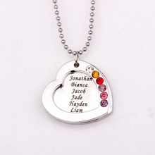 Family Heart Pendant Necklace  with Birthstones Long Necklaces Jewelry Custom Made Any Name YP2545