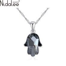 Nidalee 2016 nueva marca collar llamativo crystal fátima mano colgante collares cristales de swarovski rodio plateado chain1831