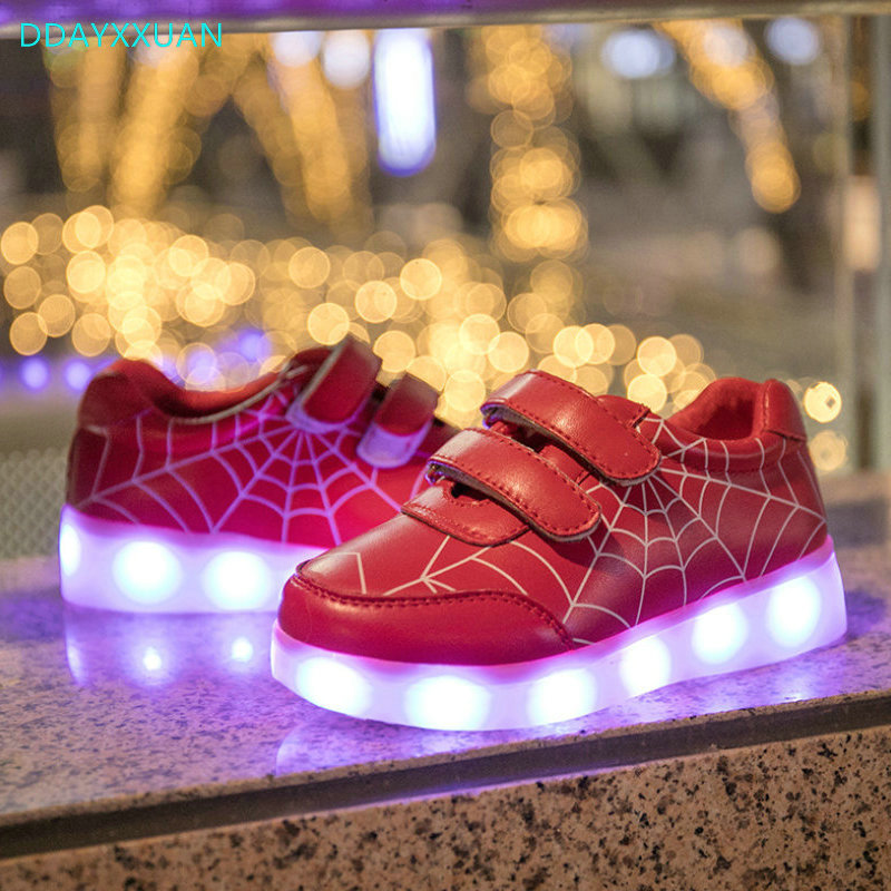 8f044b0c6cc9c ... Kids Glowing Luminous Sneakers For Girls 2018 Ne USB Charging Basket  Led Toddler Children Shoes With ...