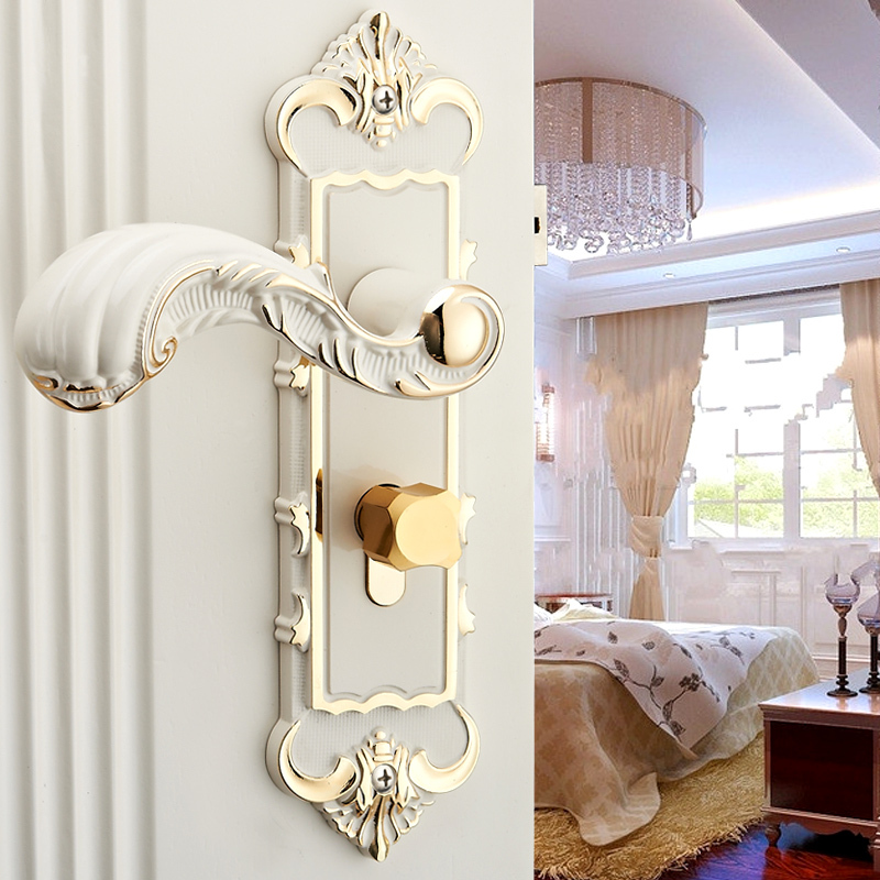 Ivory White Room Handle Lock For Bedroom Bathroom Handle Door Lock - Bathroom door locks and handles