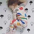 Новорожденных девочек пижама лето хлопок t-shirt + брюки пижама для девочек bebe дети пижамы детскую одежду 2-7 год