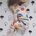 Bebé pijamas de las muchachas del verano del algodón t-shirt + pants pijamas para clothies niñas bebe kids ropa de dormir de los niños 2-7 año
