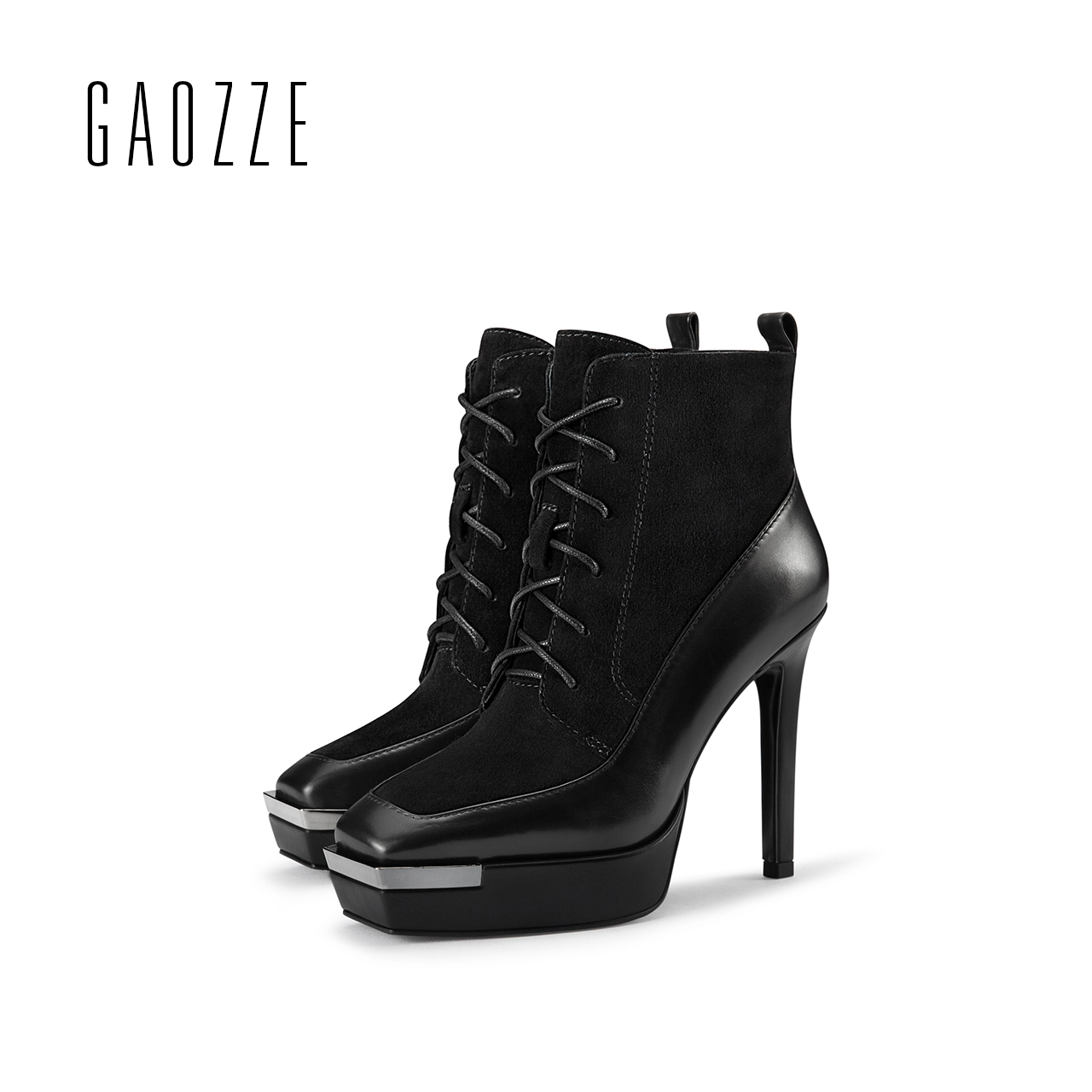Genuine Leather boots women 2017 autumn winter new square head platform high-heeled ankle boots female side zipper Thin heel autumn and winter new personality retro cowhide ankle boots handsome female waterproof platform genuine leather women shoes 9731
