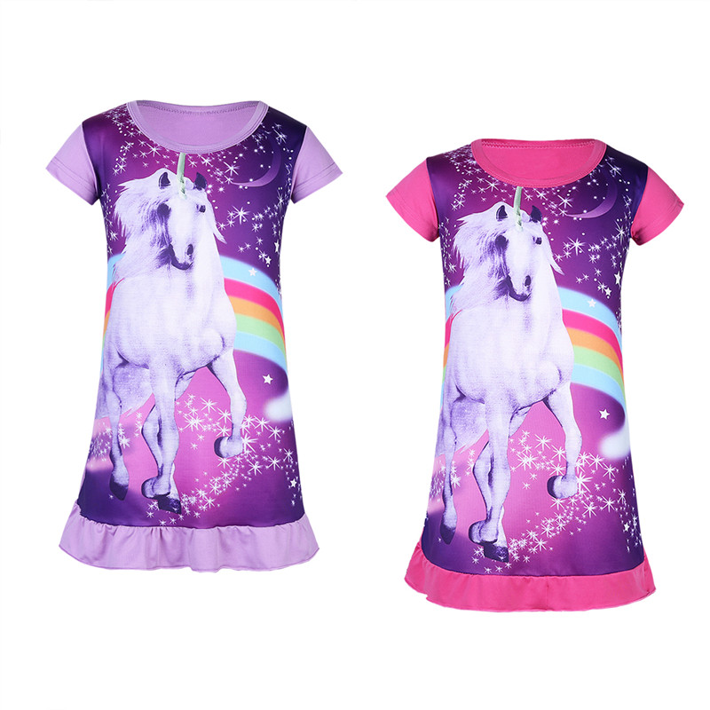 5b8ded511b4a1 FEESHOW Girl Daily Dress Kids Cartoon Horse Printed Sleepwear for Daily Wear  Cosplay Colorful Summer Nightdress for Girl-in Dresses from Mother & Kids  on ...