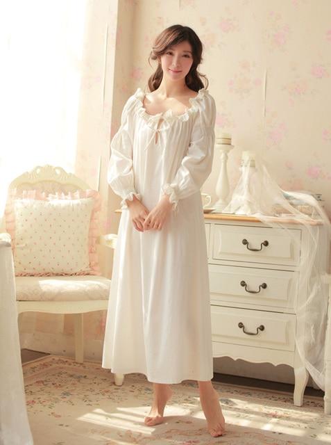 8ae82577846 Free Shipping 100% Cotton Princess Nightdress Long White Pijamas Women s  Nightgown Sleepwear Ladies Nightshirt negligee