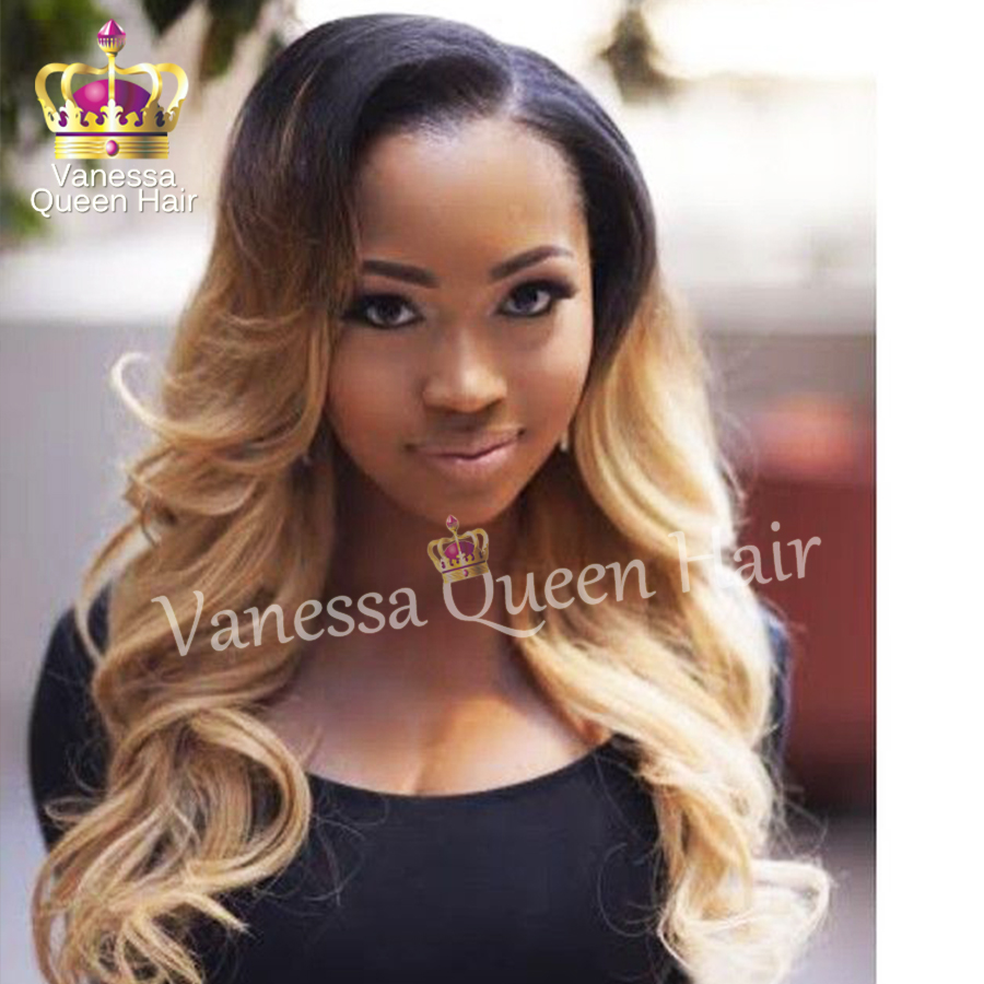 #613 Ombre blonde lace wig heat resistant synthetic lace front wig two tone ombre body wave lace front wig fast shipping