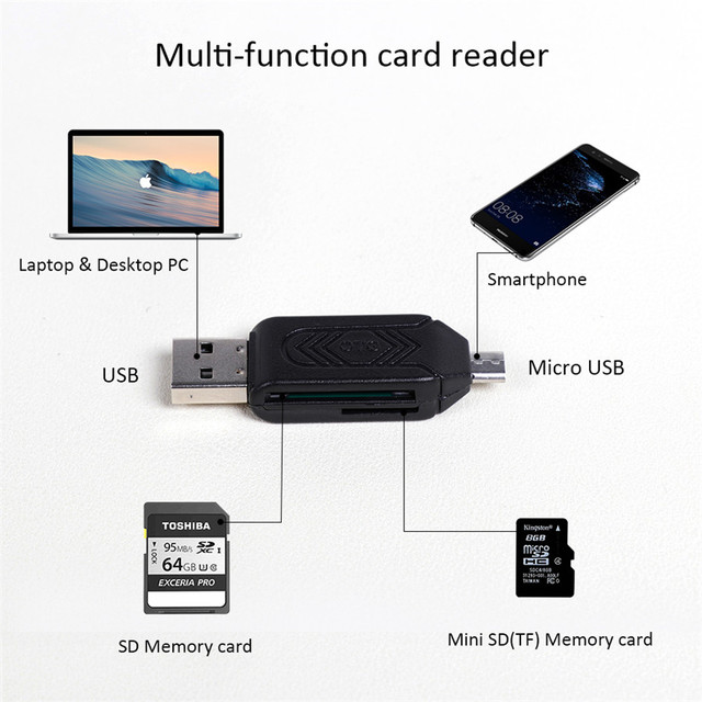 Olaudem SD TF OTG Card Reader 2 in 1 OTG Cable Micro USB Smart Flash Memory Card Micro USB Adapter High-speed Data Cables CR968