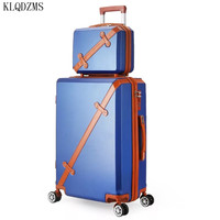 KLQDZMS 20/22/24/26Inch Retro ABS+PC Rolling Luggage Set Spinner Suitcase Wheel Vintage Cabin Trolley Women Handbag Travel Bags