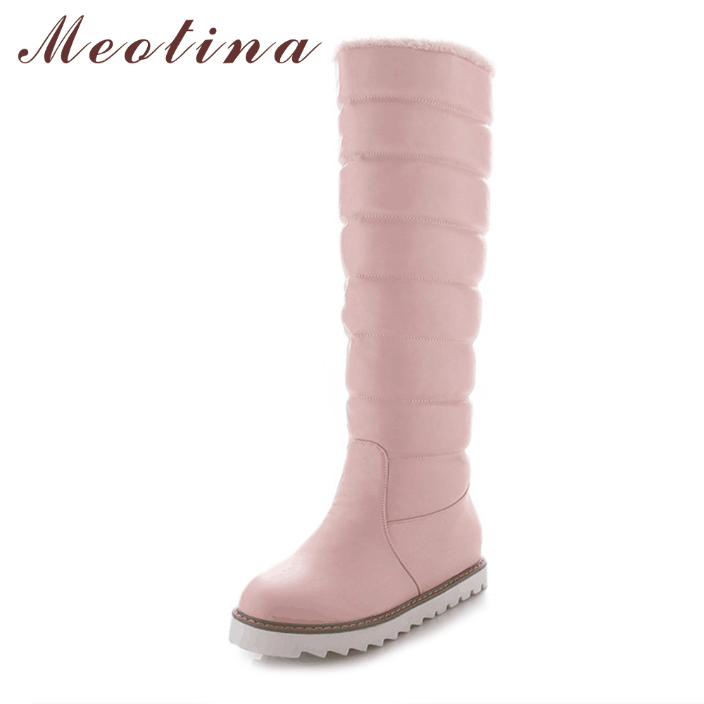 Meotina Women Snow Boots Australia Boots Winter Platform Wedge Heels Knee High Boots Pleated Pink Black White Shoes Big Size 10 meotina winter women knee high boots snow boots fur motorcycle boots pointed toe high heels shoes zipper black brown size 10 43