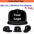 Comercio al por mayor 20 UNIDS/LOTE 170 DOLLAR Diseño gorras de Béisbol Del Snapback Bordado Imprimir Su Insignia Pequeña orden Equipo de Bailarines de hip-hop Sombreros