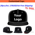 Wholesale 20PCS/LOT 170USD Baseball caps Design Snapback Embroidery Print Your Logo Small order hip-hop Dancers Team Hats