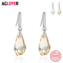 Earrings for Women 925 Sterling Silver Jewelry Champagne Yellow Drop with Stones Austrian Crystal Earring With Box