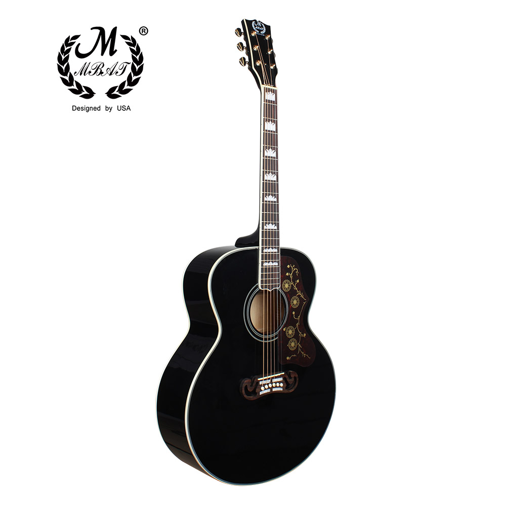 42 Black Acoustic Folk Guitar 6 Strings Hollow Body Flower Pickguard Profissionais Music Violao Guitar Neck Rosewood Fingerboard high quality custom shop lp jazz hollow body electric guitar vibrato system rosewood fingerboard mahogany body guitar